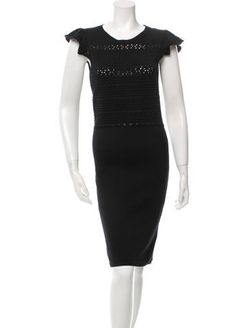 Red Valentino Texted Cap-Sleeved Knit Dress None
