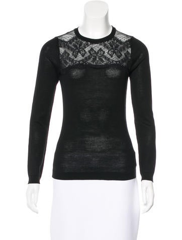 Red Valentino Lace-Trimmed Virgin Wool Sweater None