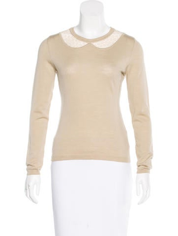 Red Valentino Lace-Accented Wool Top None