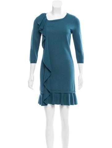 Red Valentino Overlay Rib Knit Dress None