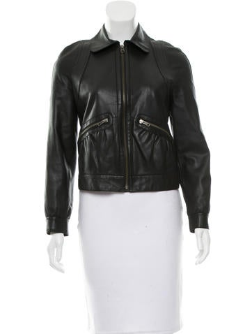 Red Valentino Collared Leather Jacket