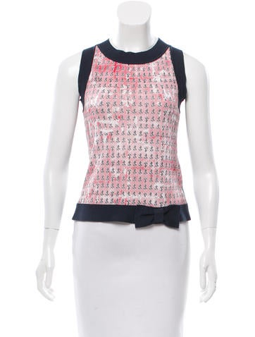 Red Valentino Sleeveless Anchor Print Top None