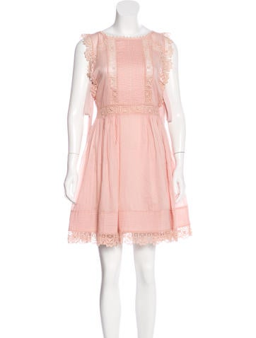 Red Valentino Lace-Trimmed Sleeveless Dress