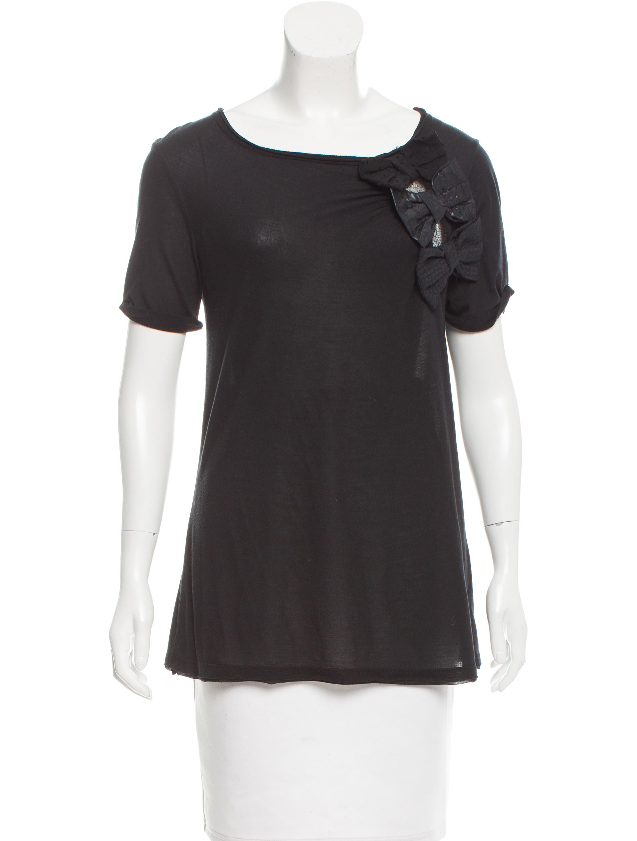 Red valentino bow embellished t shirt clothing for Red valentino t shirt