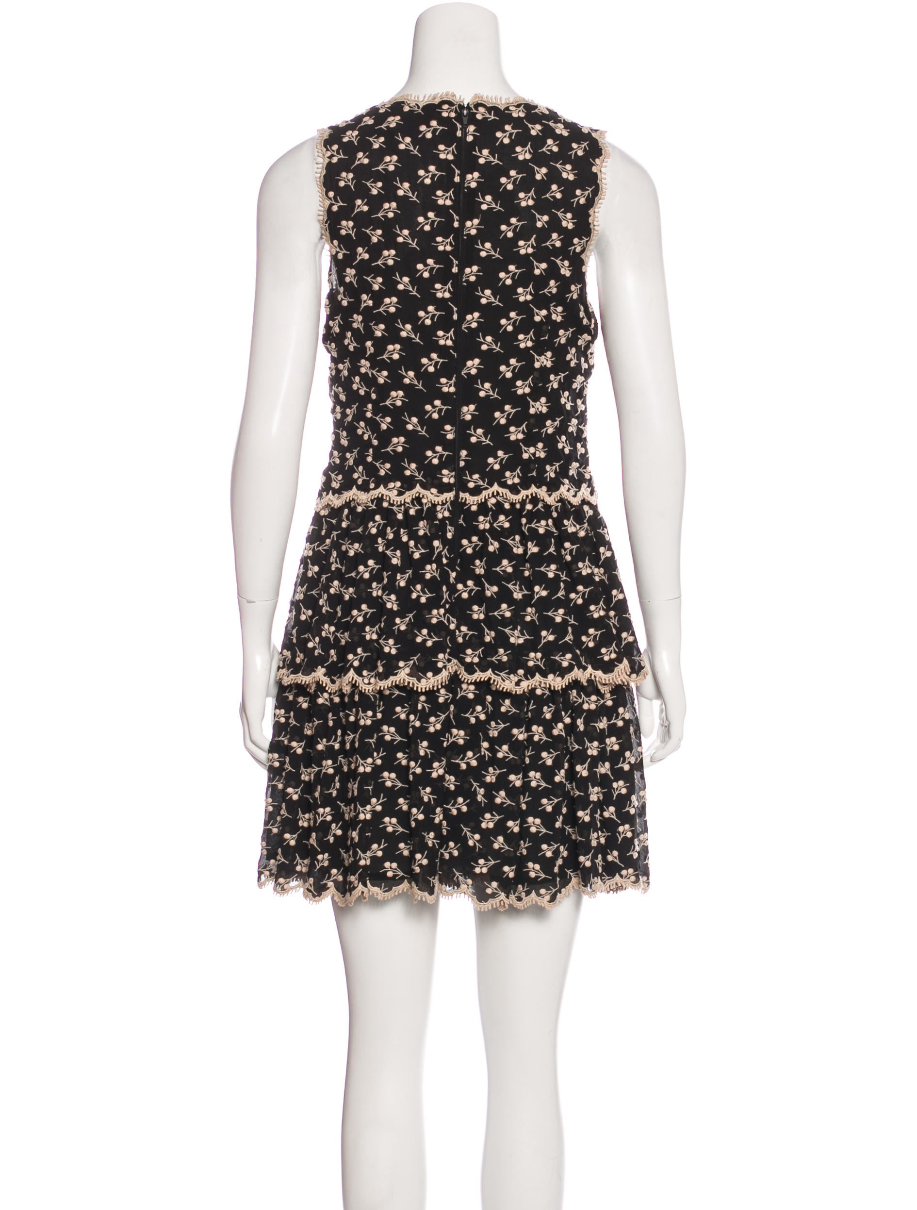 Red valentino embroidered silk dress clothing wre