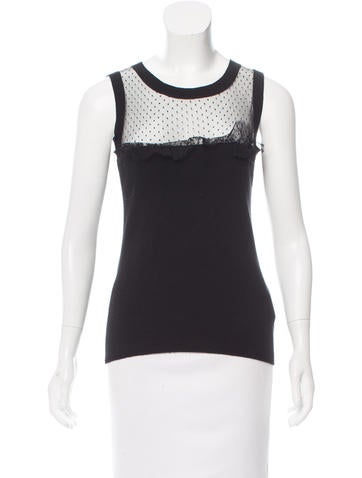 Red Valentino Wool Mesh-Accented Top None