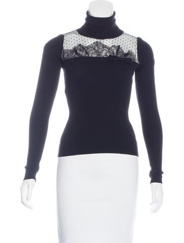 Red Valentino Lace-Trimmed Turtleneck Top None