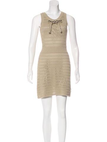 Red Valentino Open Knit Mini Dress None