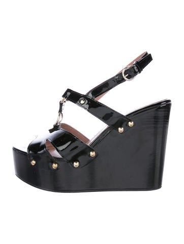 Red Valentino Patent Leather Wedge Sandals None