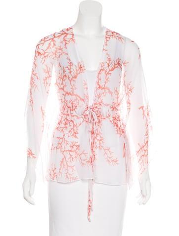 Red Valentino Silk Coral Print Blouse w/ Tags None
