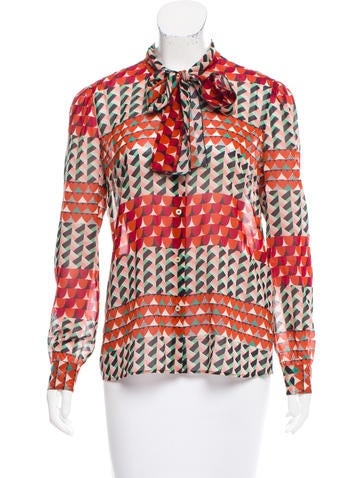 Red Valentino Printed Silk Button-Up Top None