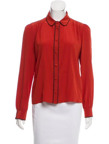 Red Valentino Silk Contrast-Trimmed Blouse None