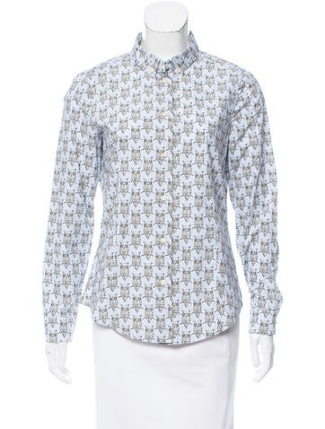 Red Valentino Owl Print Button-Up Top None