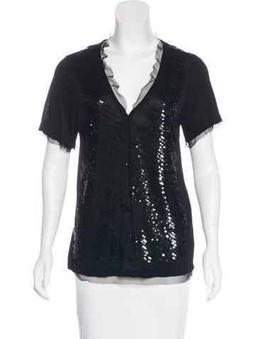 Red Valentino Sequin Short Sleeve Top None