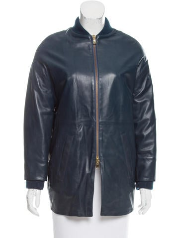 Red Valentino Leather Bomber Jacket None