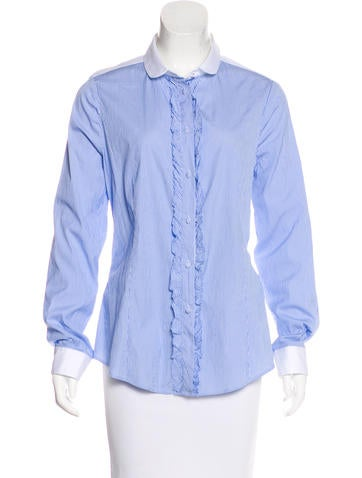 Red Valentino Ruffle-Accented Button-Up Top None