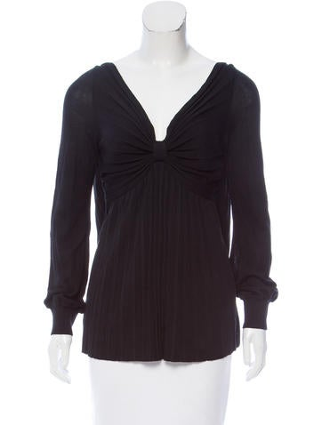 Red Valentino Pleated Long Sleeve Top w/ Tags None