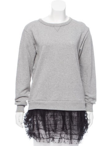 Red Valentino Lace-Trimmed Crew Neck Top None