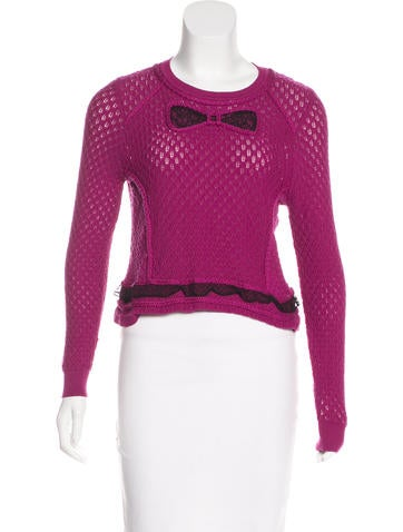 Red Valentino Lace-Trimmed Open Knit Sweater None