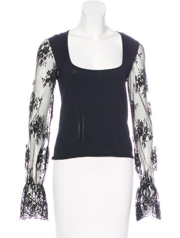 Red Valentino Lace-Accented Knit Top None