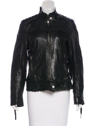 Scalloped Leather Jacket