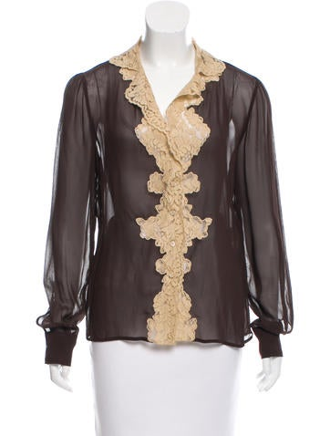 Red Valentino Lace Button-Up Top None