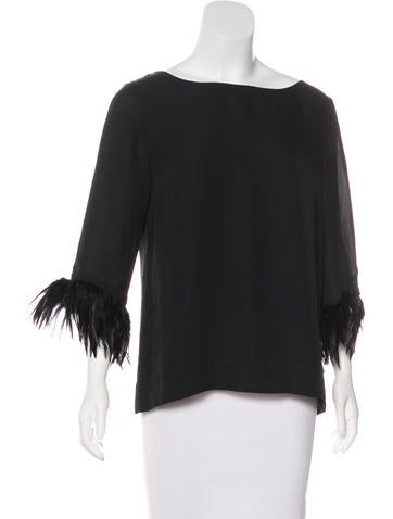 Red Valentino Feather-Accented Silk Top None