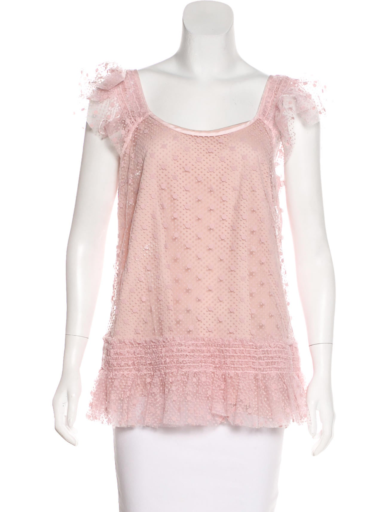 Free Shipping Amazing Price Outlet With Paypal Order Online Pink mesh shirt with ruffles Red Valentino BCaNGryRC2