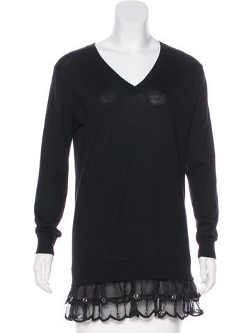 Red Valentino Embellished Virgin Wool Sweater None