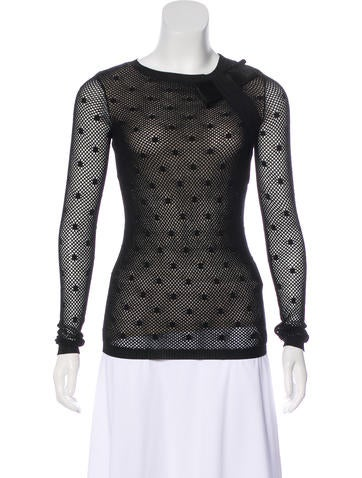 Red Valentino Bow-Accented Knit Long Sleeve Top None