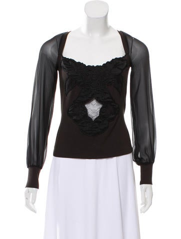 Red Valentino Embellished Long Sleeve Top None
