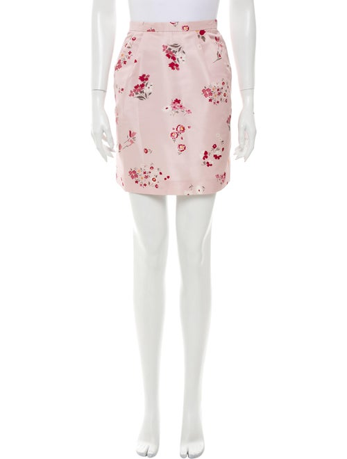 Red Valentino Floral Print Mini Skirt Red