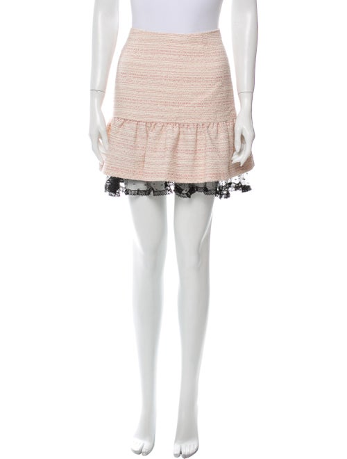 Red Valentino Colorblock Pattern Mini Skirt Red