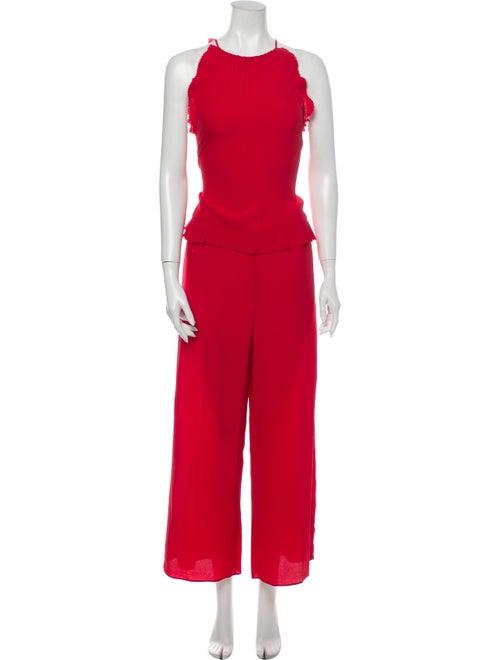 Red Valentino Crew Neck Jumpsuit Red