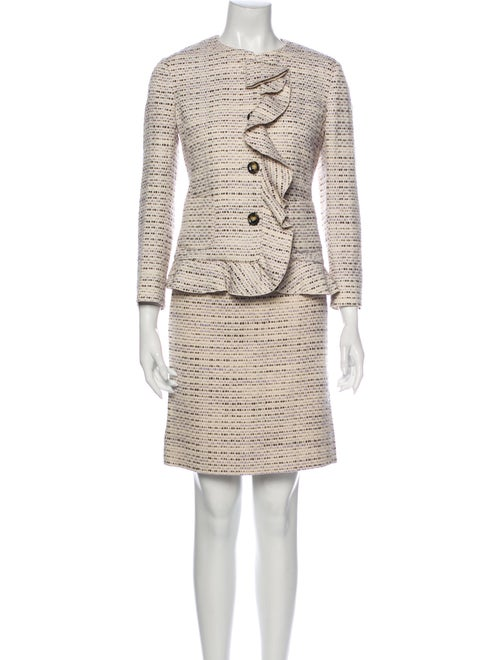 Red Valentino Tweed Pattern Skirt Set Red