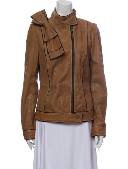 Red Valentino Lamb Leather Biker Jacket Red