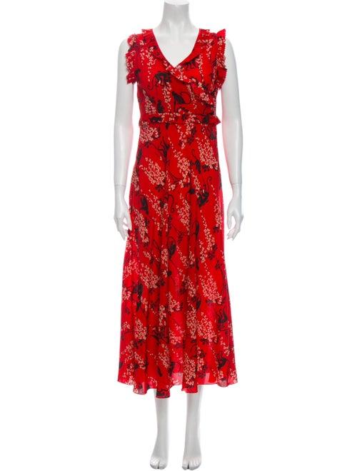 Red Valentino Silk Long Dress Red