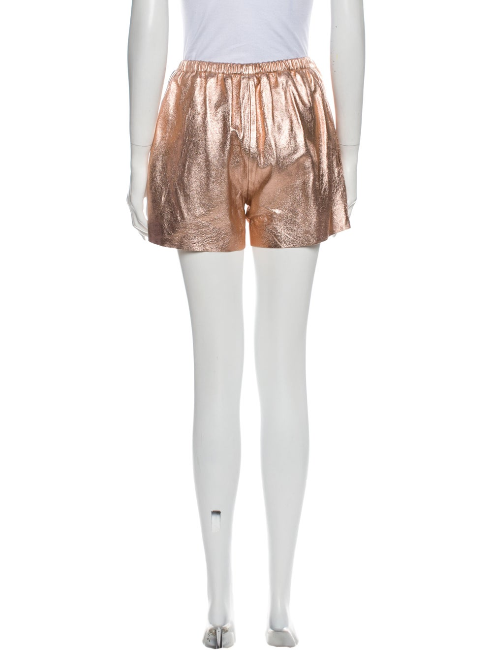 Red Valentino Lamb Leather Mini Shorts Red - image 3