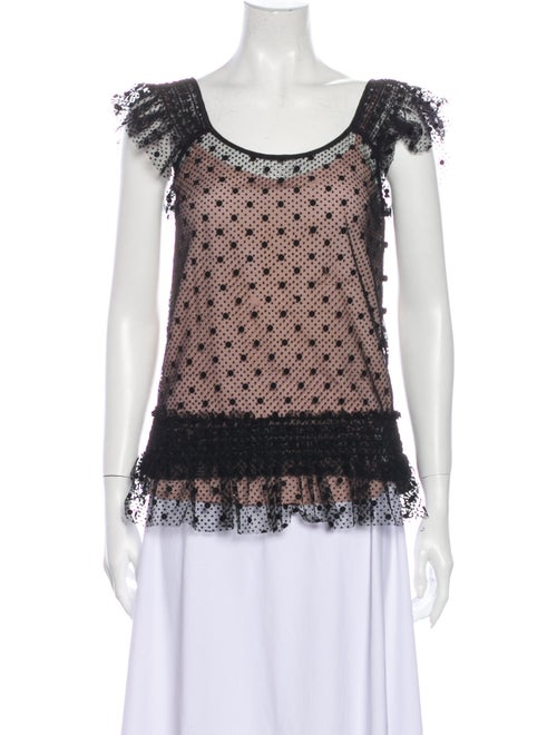Red Valentino Lace Pattern Scoop Neck Blouse Red