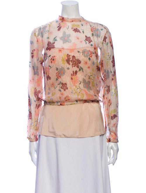 Red Valentino Silk Floral Print Blouse Red