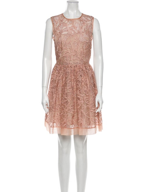 Red Valentino Lace Pattern Mini Dress Red