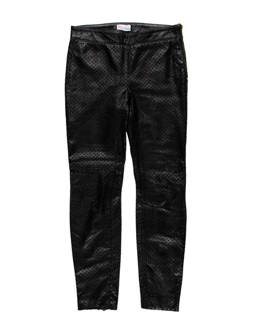 Red Valentino Lamb Leather Skinny Leg Pants Red