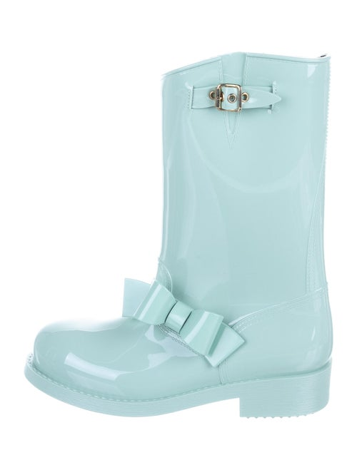 Red Valentino Patent Leather Bow Accents Rain Boot