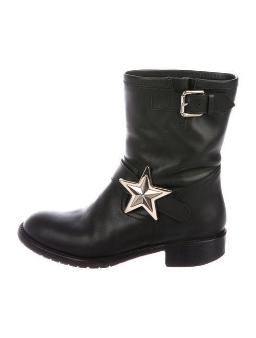 Red Valentino Leather Moto Boots Red