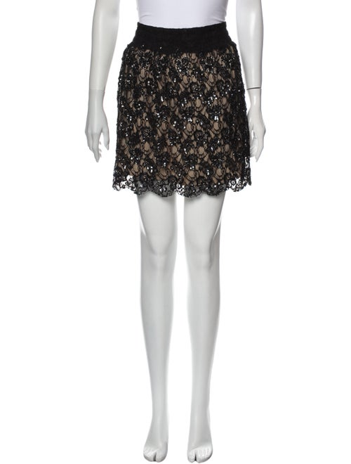Red Valentino Lace Pattern Mini Skirt Red