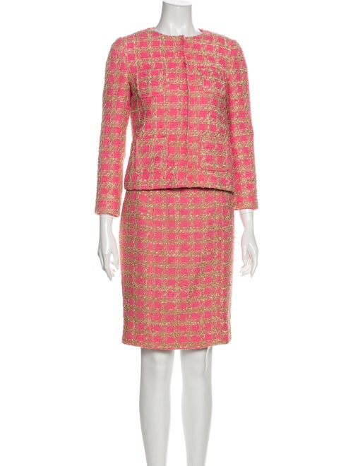 Red Valentino Tweed Pattern Skirt Suit Red