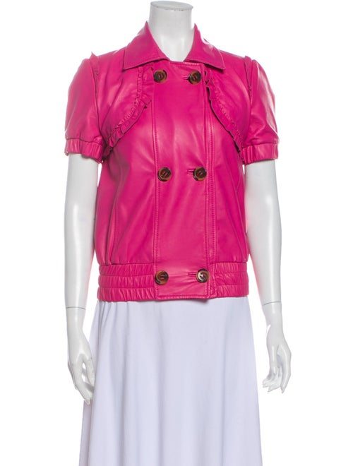 Red Valentino Lamb Leather Jacket Red