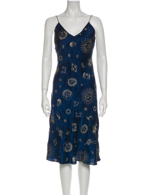 Réalisation Par Silk Knee-Length Dress Blue