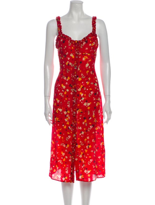 Réalisation Par Silk Midi Length Dress Red