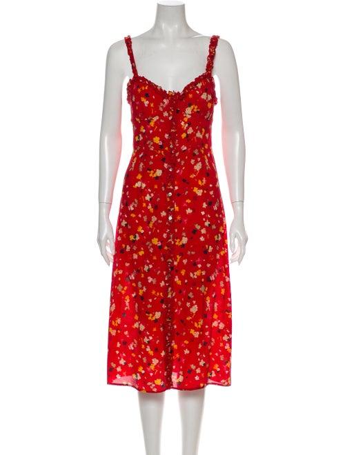 Réalisation Par Silk Midi Length Dress Red
